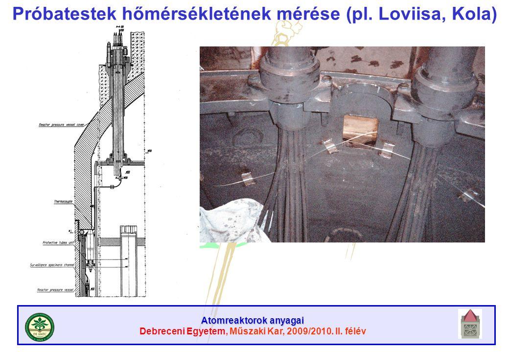 Próbatestek hőmérsékletének mérése (pl. Loviisa, Kola)