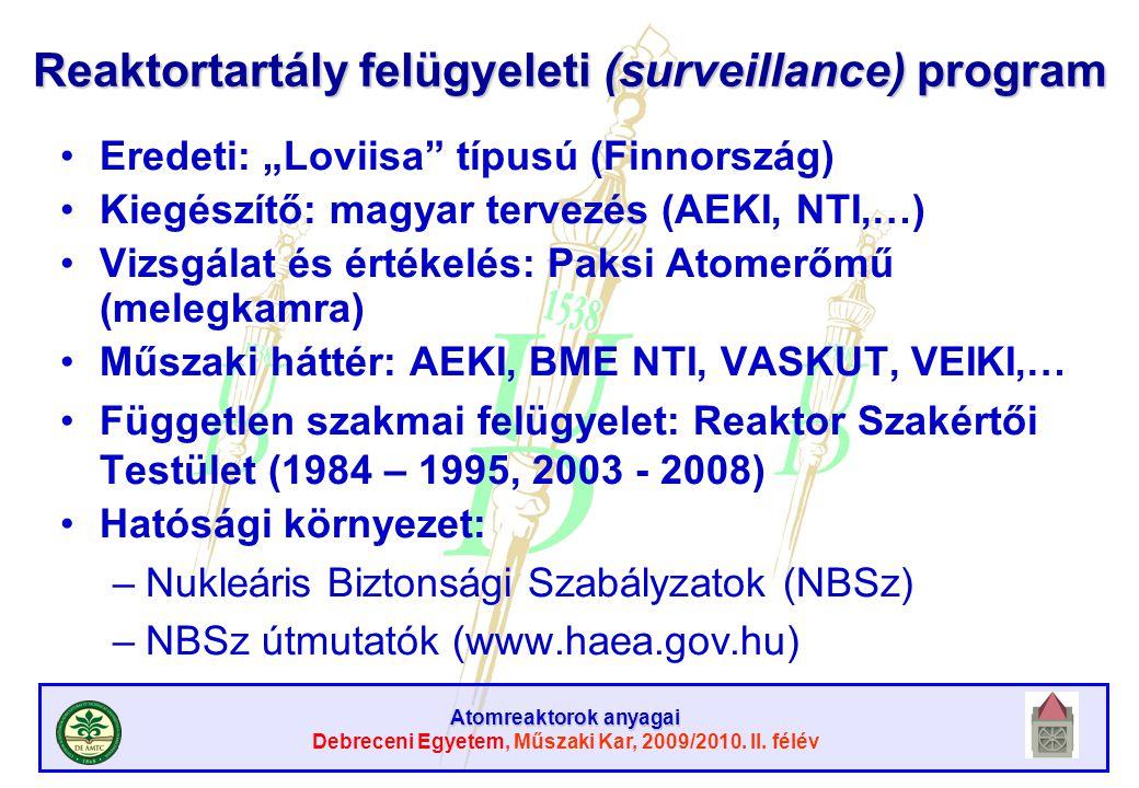 Reaktortartály felügyeleti (surveillance) program