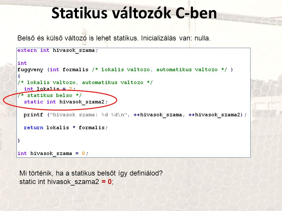 Statikus változók C-ben