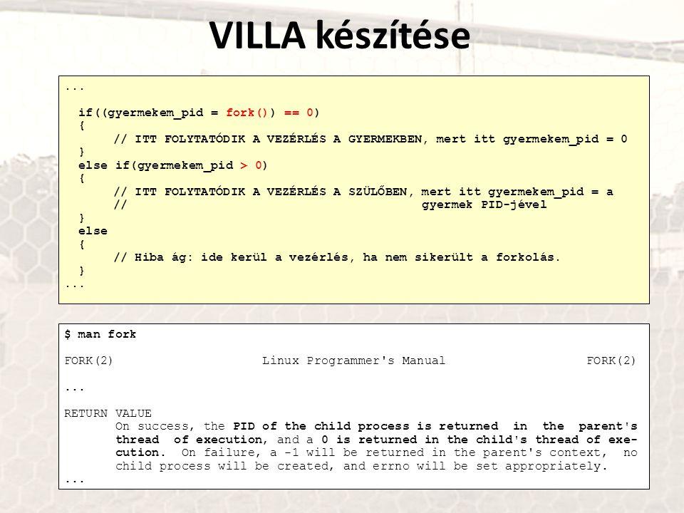 VILLA készítése ... if((gyermekem_pid = fork()) == 0) {