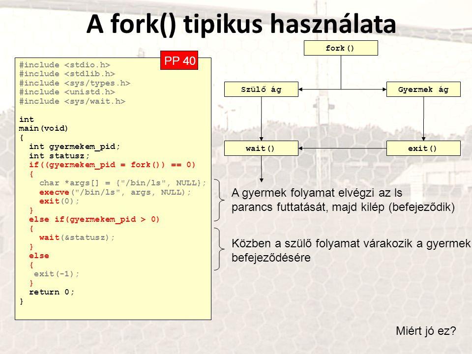 A fork() tipikus használata