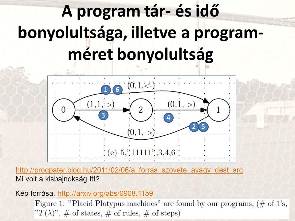 A program tár- és idő bonyolultsága, illetve a program-méret bonyolultság