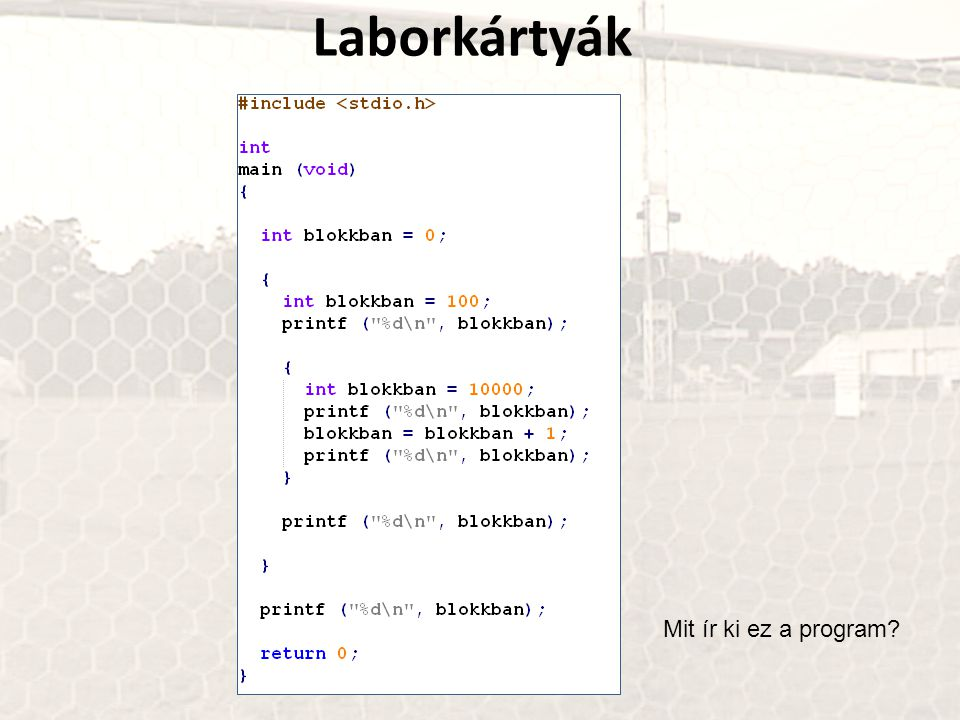 Laborkártyák Mit ír ki ez a program