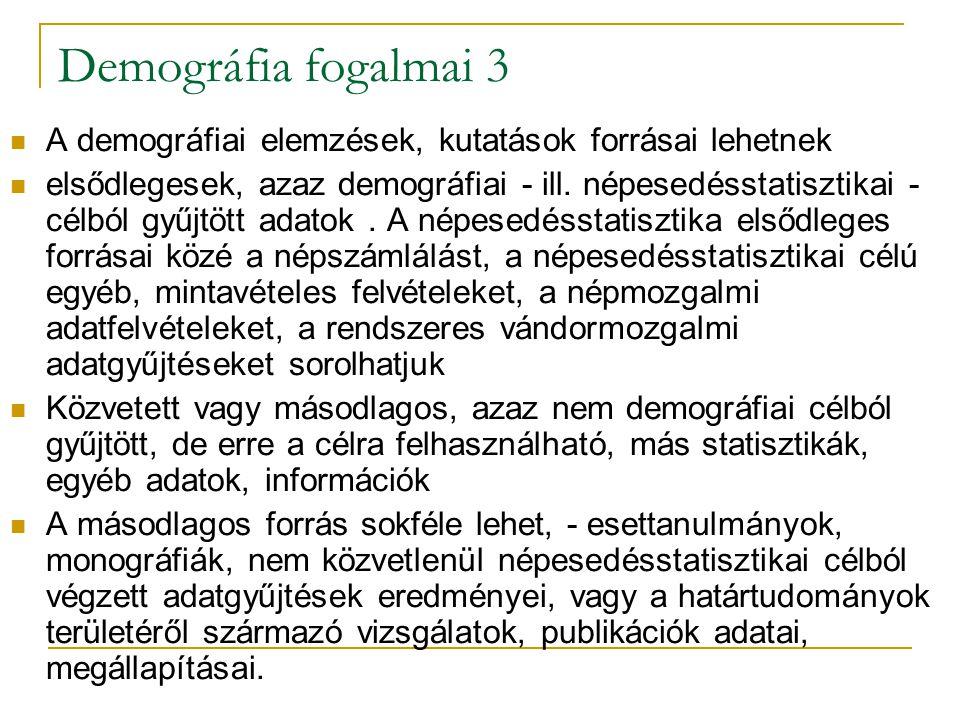 Demográfia fogalmai 3 A demográfiai elemzések, kutatások forrásai lehetnek.