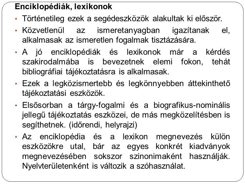 Enciklopédiák, lexikonok