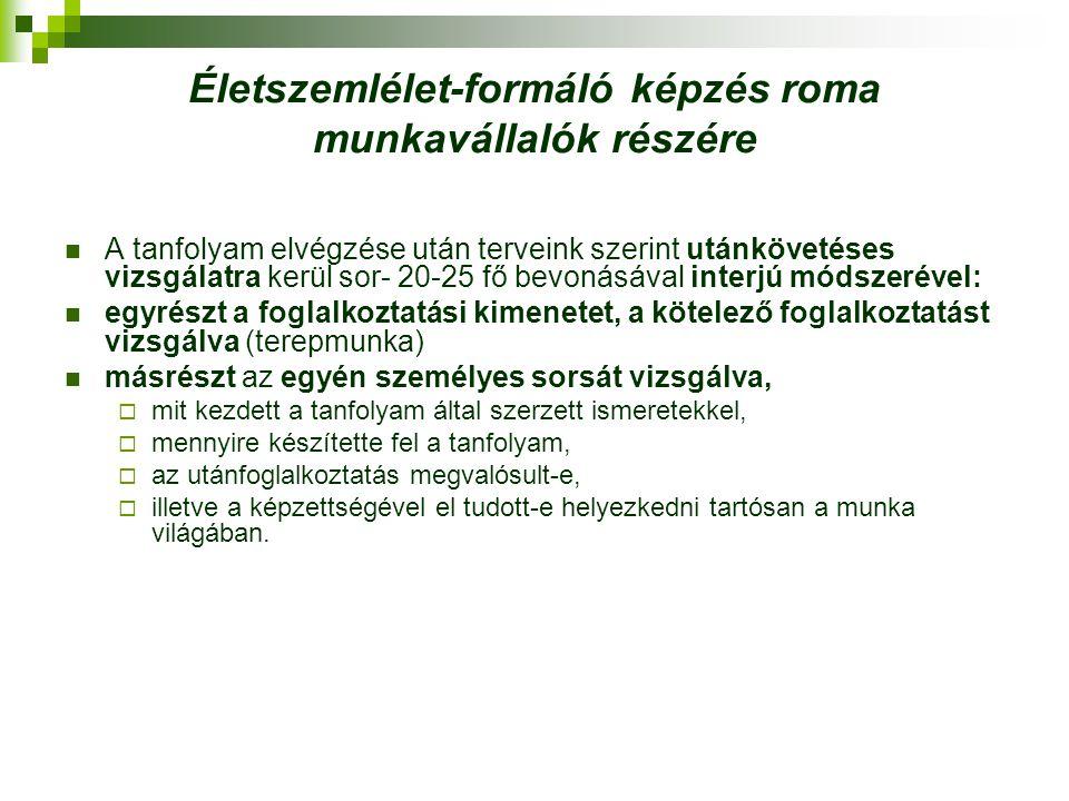 Életszemlélet-formáló képzés roma munkavállalók részére