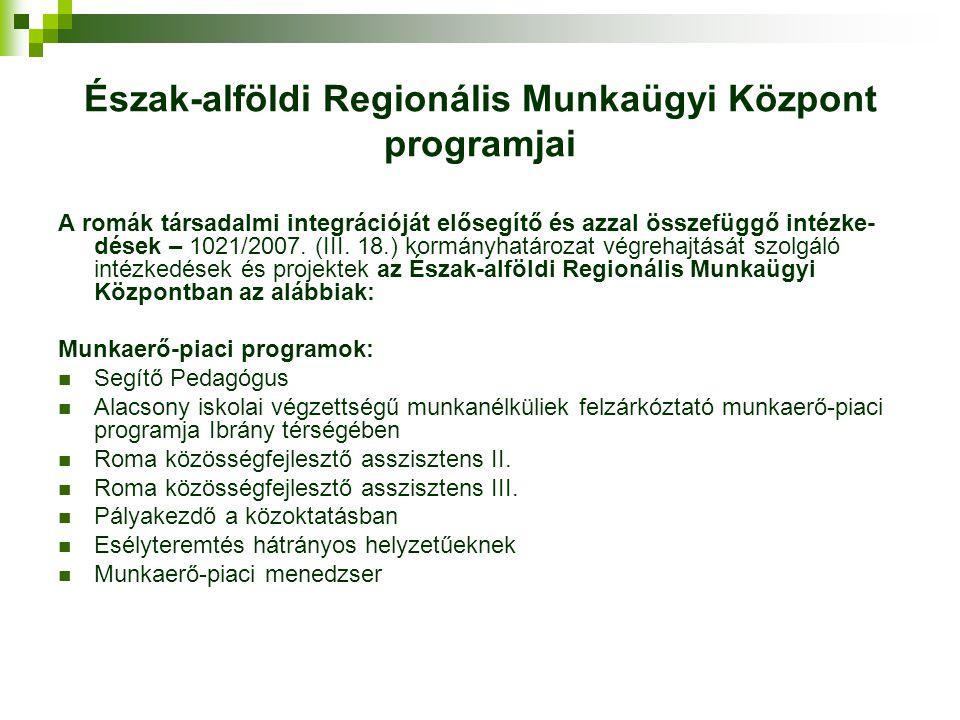 Észak-alföldi Regionális Munkaügyi Központ programjai