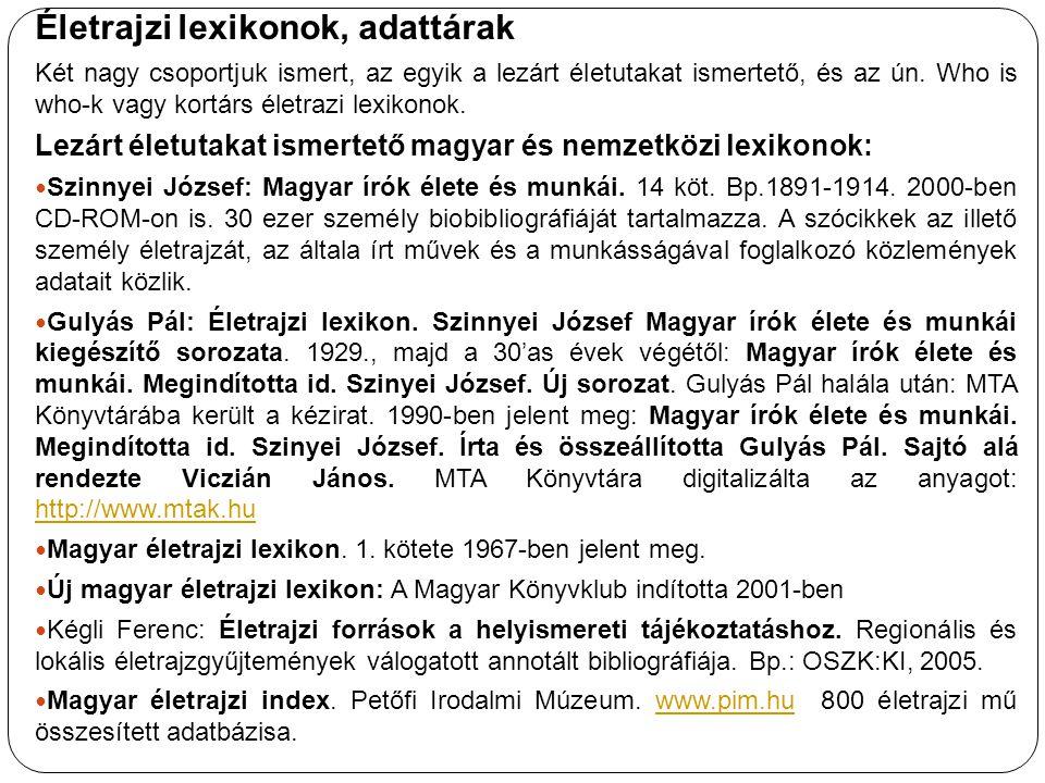 Életrajzi lexikonok, adattárak