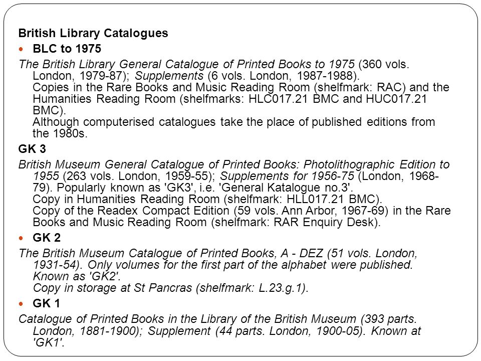 British Library Catalogues
