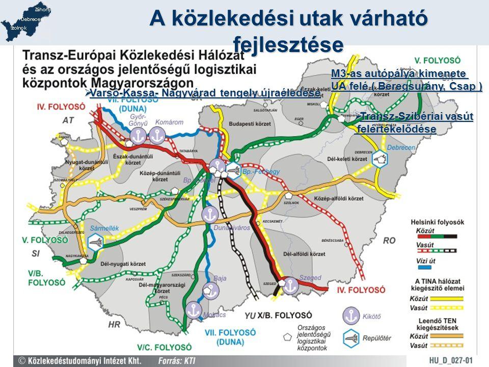 A közlekedési utak várható fejlesztése