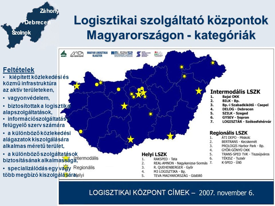 Logisztikai szolgáltató központok Magyarországon - kategóriák