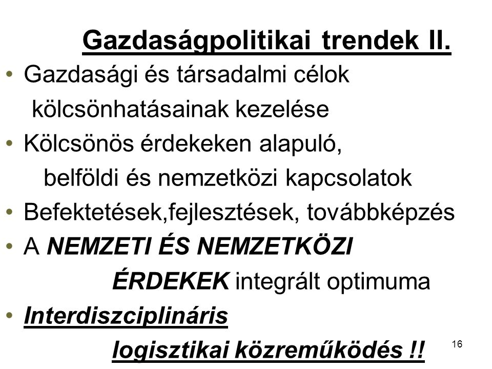Gazdaságpolitikai trendek II.