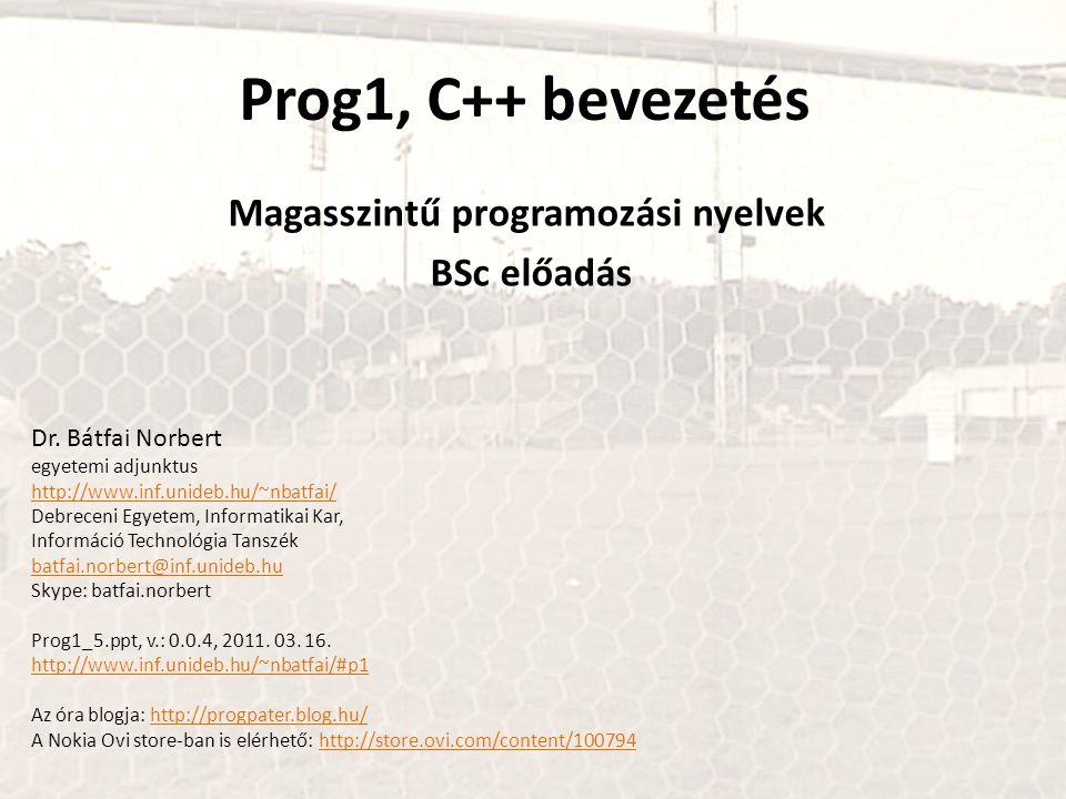 Magasszintű programozási nyelvek BSc előadás
