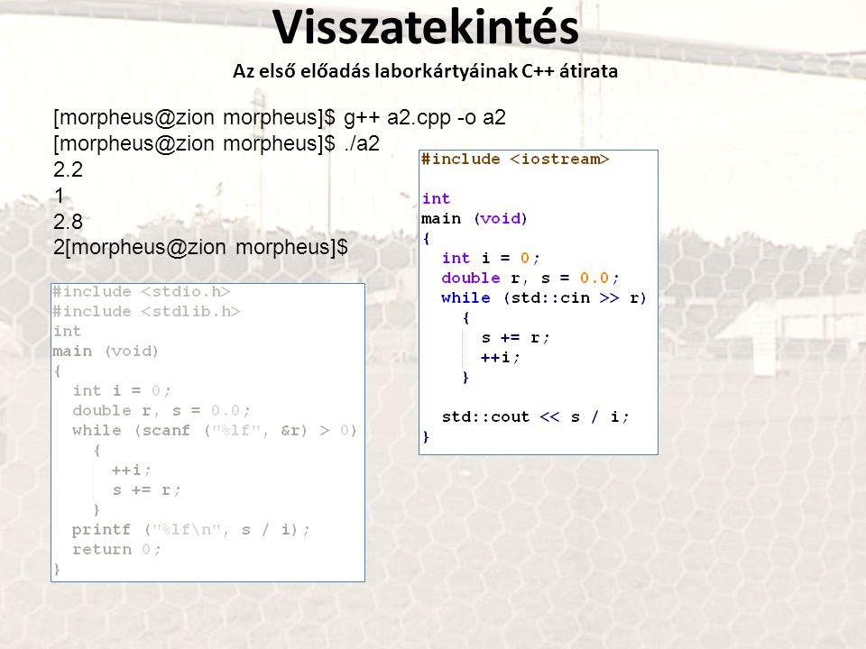 Az első előadás laborkártyáinak C++ átirata