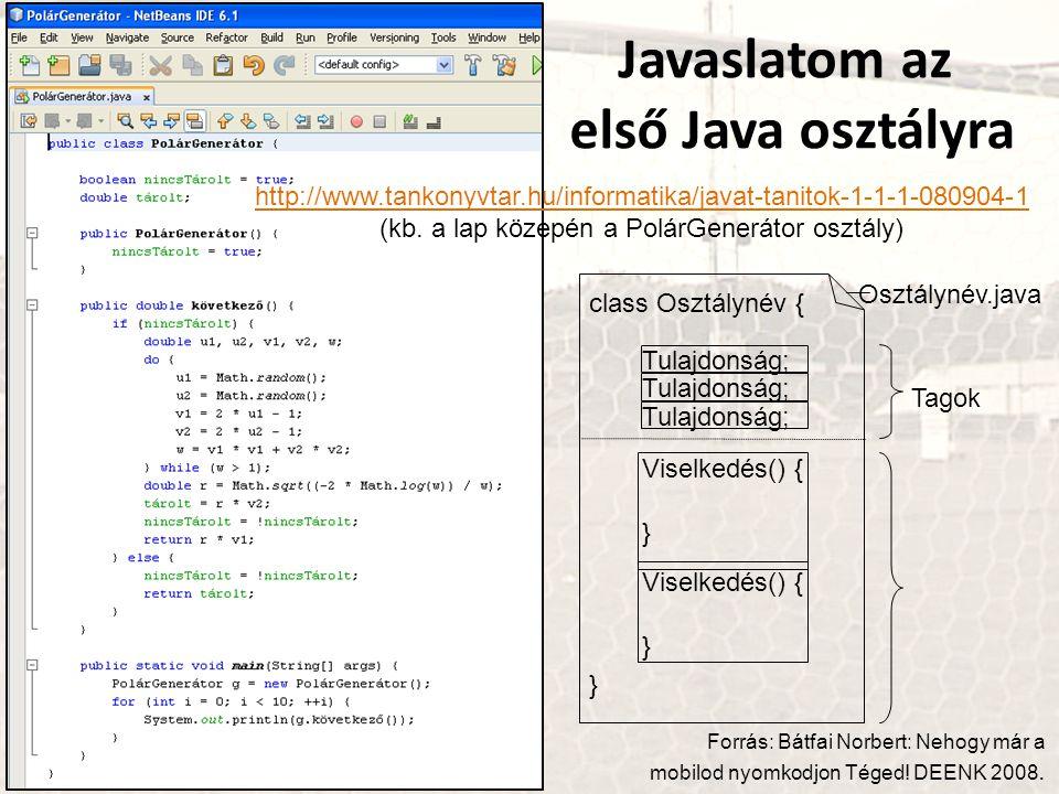 Javaslatom az első Java osztályra