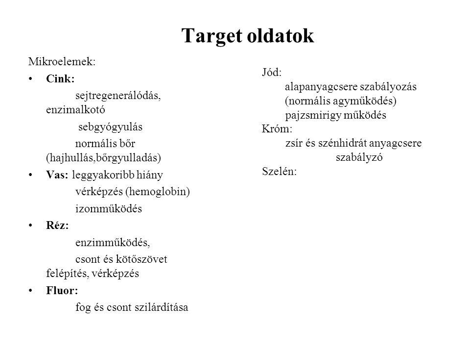 Target oldatok Mikroelemek: Cink: sejtregenerálódás, enzimalkotó