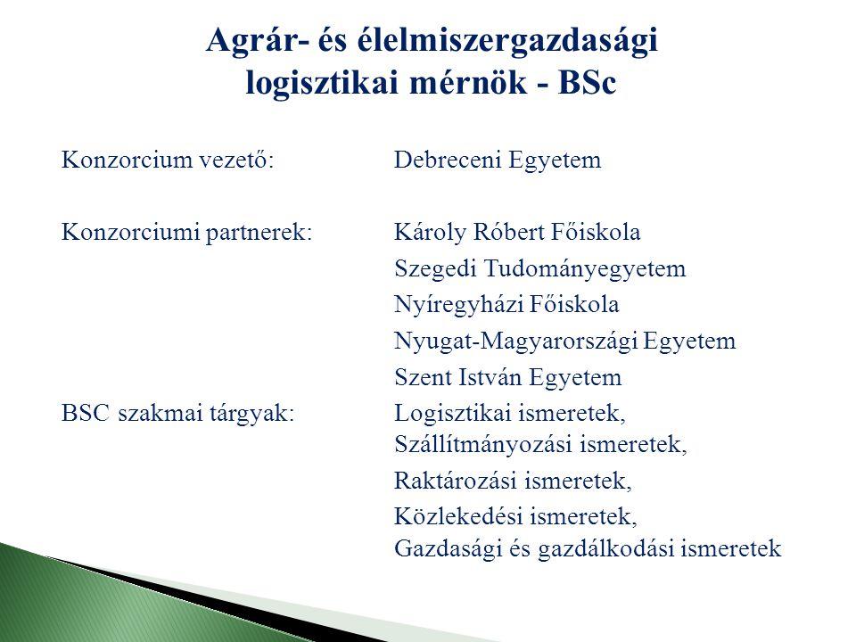 Agrár- és élelmiszergazdasági logisztikai mérnök - BSc