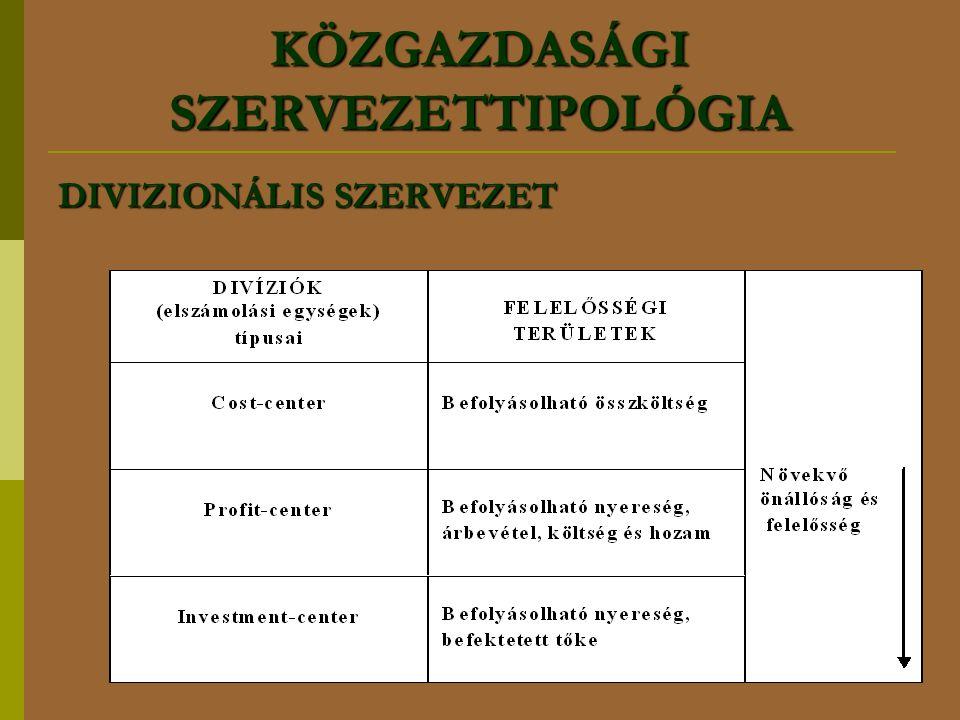 KÖZGAZDASÁGI SZERVEZETTIPOLÓGIA