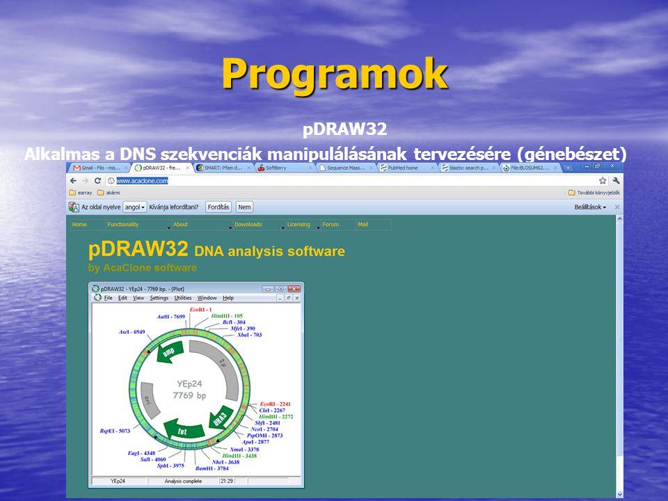 Programok pDRAW32 Alkalmas a DNS szekvenciák manipulálásának tervezésére (génebészet)