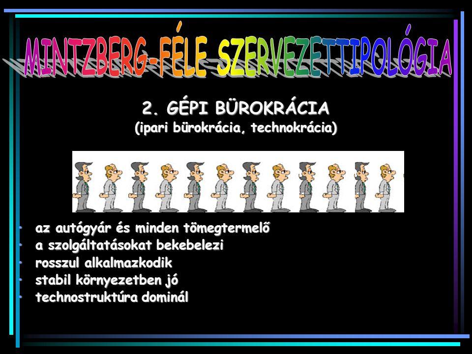 MINTZBERG-FÉLE SZERVEZETTIPOLÓGIA (ipari bürokrácia, technokrácia)