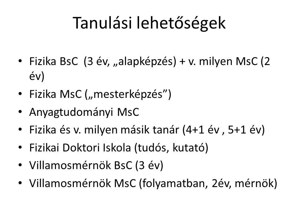 """Tanulási lehetőségek Fizika BsC (3 év, """"alapképzés) + v. milyen MsC (2 év) Fizika MsC (""""mesterképzés )"""