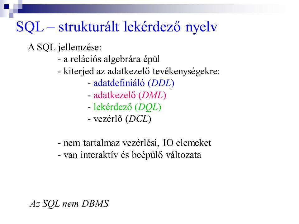SQL – strukturált lekérdező nyelv