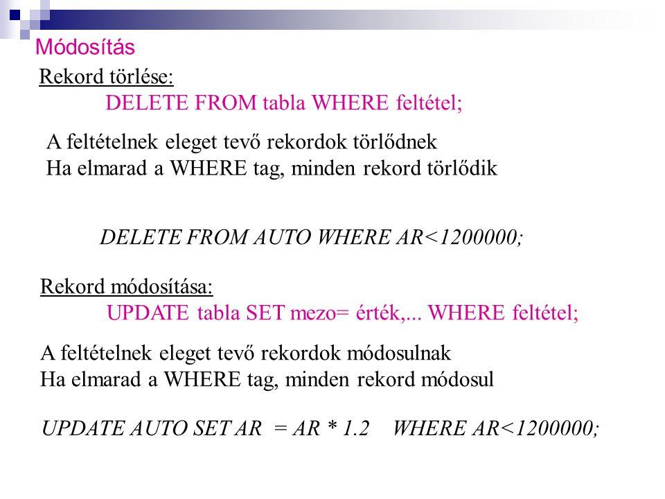 Módosítás Rekord törlése: DELETE FROM tabla WHERE feltétel; A feltételnek eleget tevő rekordok törlődnek.