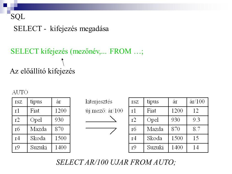 SQL SELECT - kifejezés megadása. SELECT kifejezés (mezőnév,...