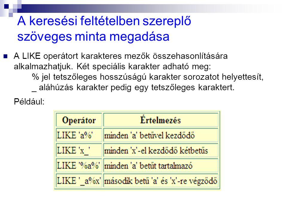 A keresési feltételben szereplő szöveges minta megadása