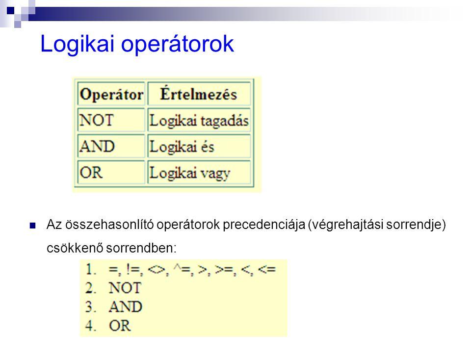 Logikai operátorok Az összehasonlító operátorok precedenciája (végrehajtási sorrendje) csökkenő sorrendben: