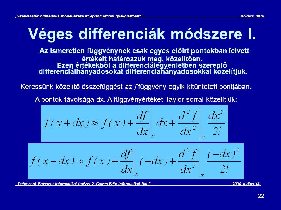 A pontok távolsága dx. A függvényértéket Taylor-sorral közelítjük: