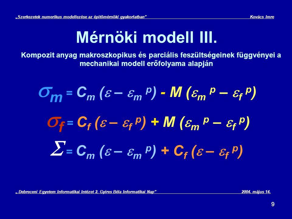 sm = Cm (e – em p) - M (em p – ef p)