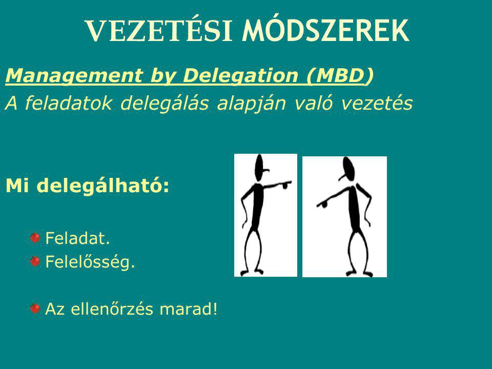 VEZETÉSI MÓDSZEREK Management by Delegation (MBD)