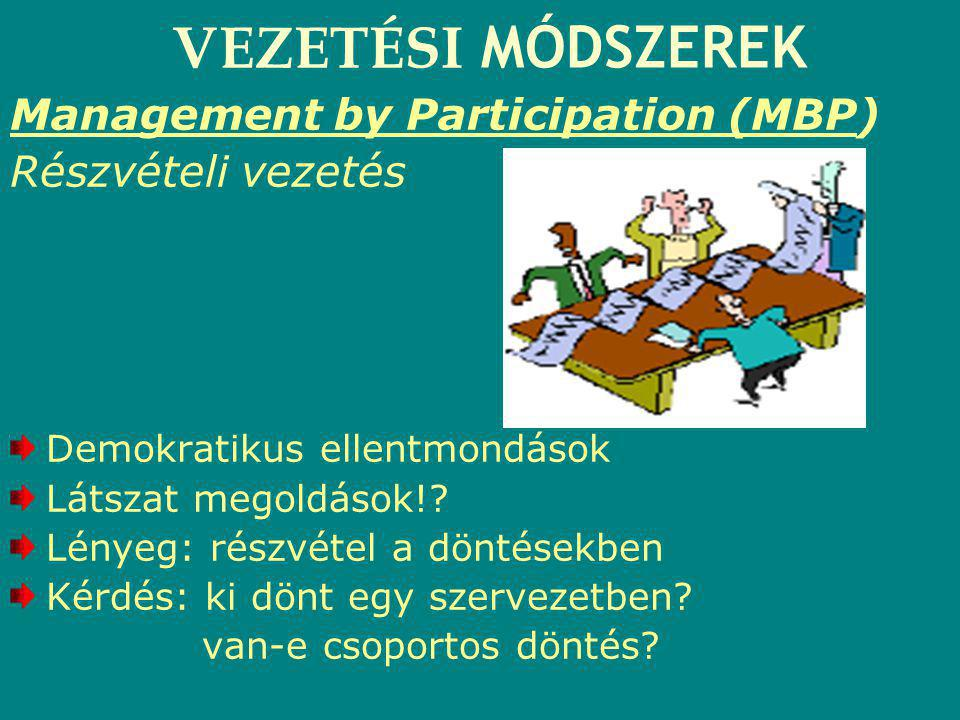 VEZETÉSI MÓDSZEREK Management by Participation (MBP)
