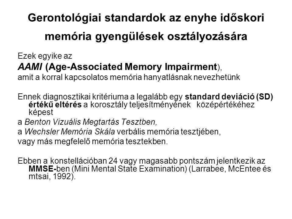 Gerontológiai standardok az enyhe időskori memória gyengülések osztályozására