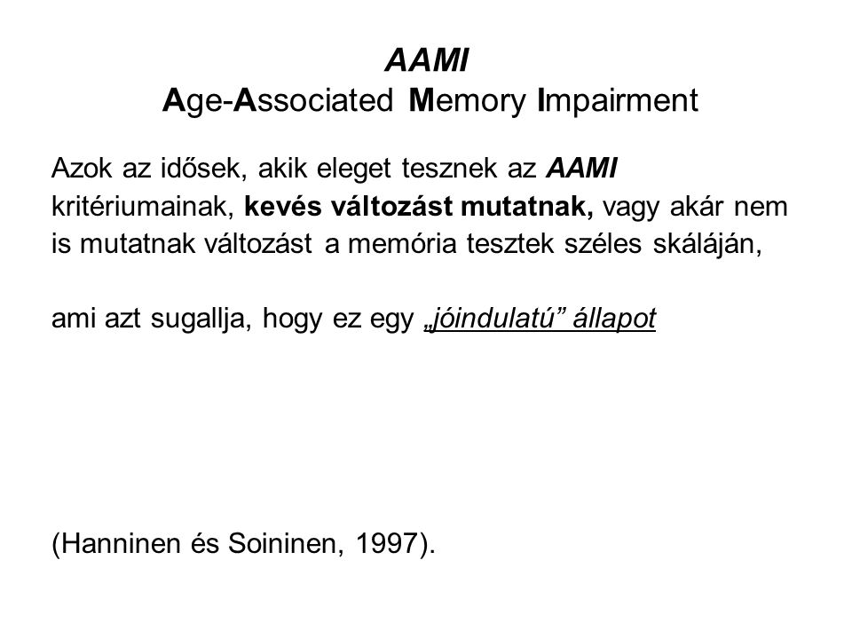 AAMI Age-Associated Memory Impairment
