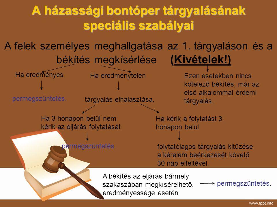 A házassági bontóper tárgyalásának speciális szabályai