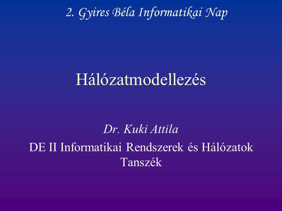 Dr. Kuki Attila DE II Informatikai Rendszerek és Hálózatok Tanszék