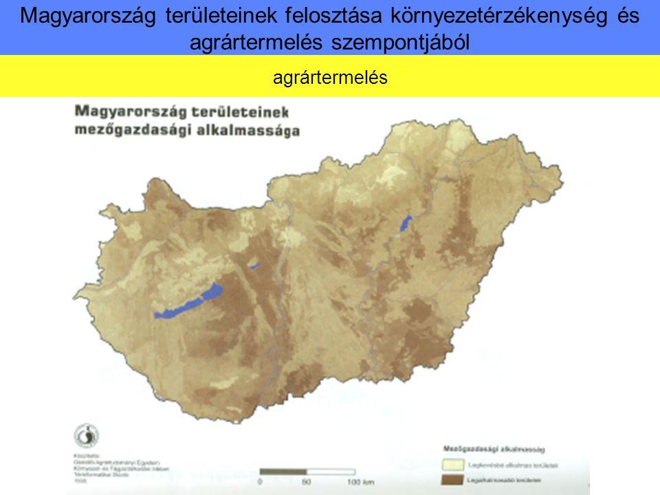 Magyarország területeinek felosztása környezetérzékenység és agrártermelés szempontjából