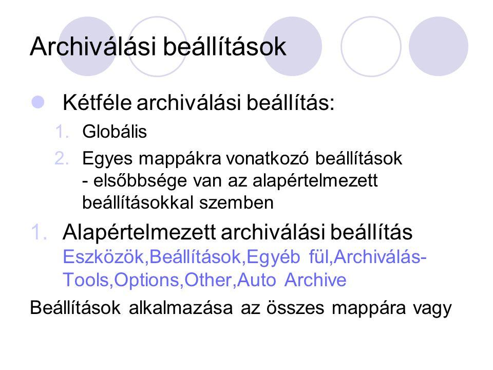 Archiválási beállítások
