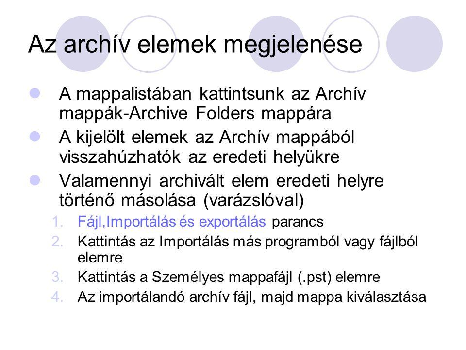 Az archív elemek megjelenése