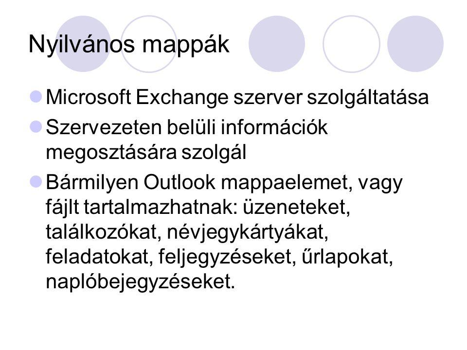 Nyilvános mappák Microsoft Exchange szerver szolgáltatása