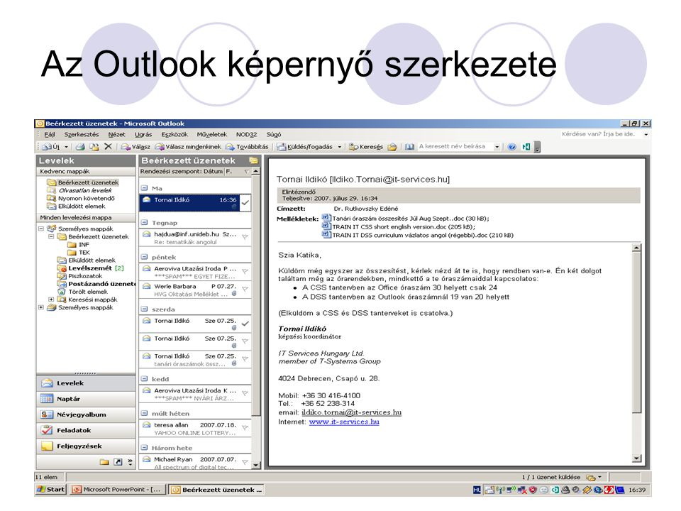 Az Outlook képernyő szerkezete
