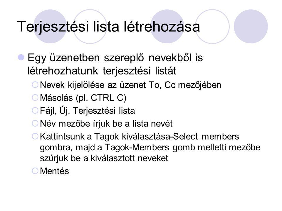 Terjesztési lista létrehozása
