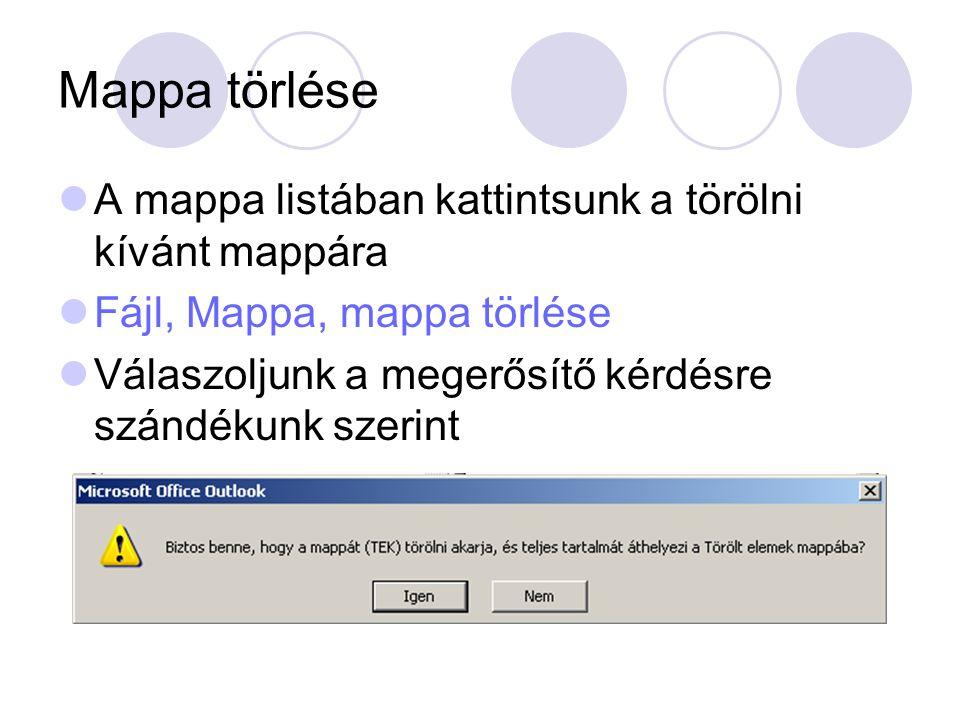 Mappa törlése A mappa listában kattintsunk a törölni kívánt mappára