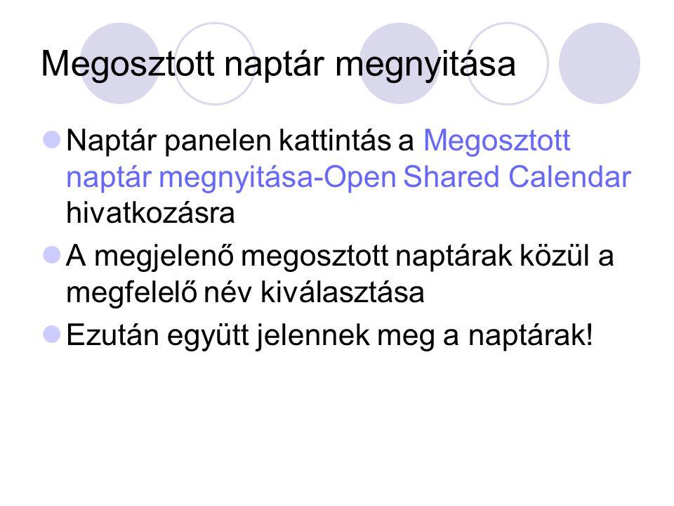 Megosztott naptár megnyitása