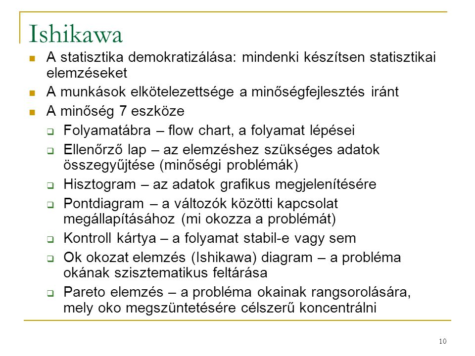 Ishikawa A statisztika demokratizálása: mindenki készítsen statisztikai elemzéseket. A munkások elkötelezettsége a minőségfejlesztés iránt.