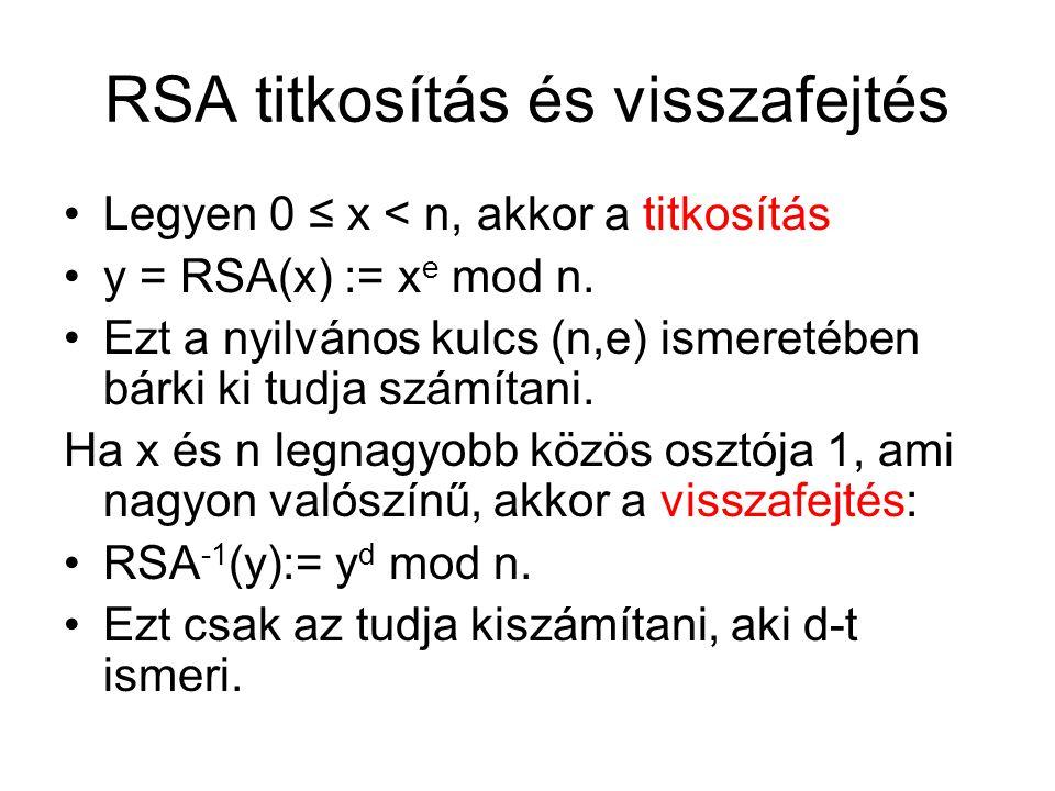 RSA titkosítás és visszafejtés