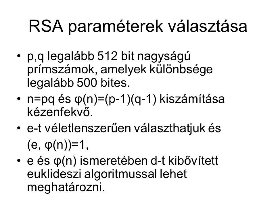 RSA paraméterek választása