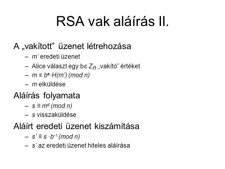 """RSA vak aláírás II. A """"vakított üzenet létrehozása Aláírás folyamata"""